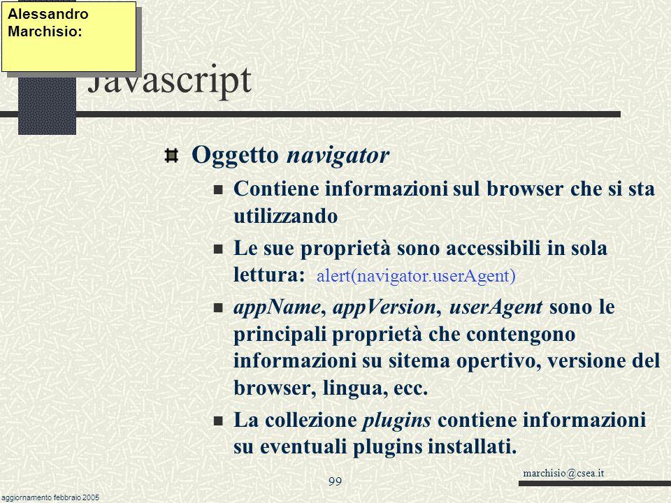Javascript Oggetto navigator