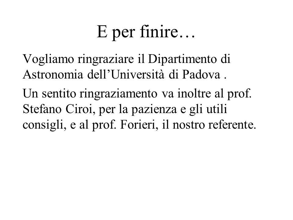 E per finire… Vogliamo ringraziare il Dipartimento di Astronomia dell'Università di Padova .