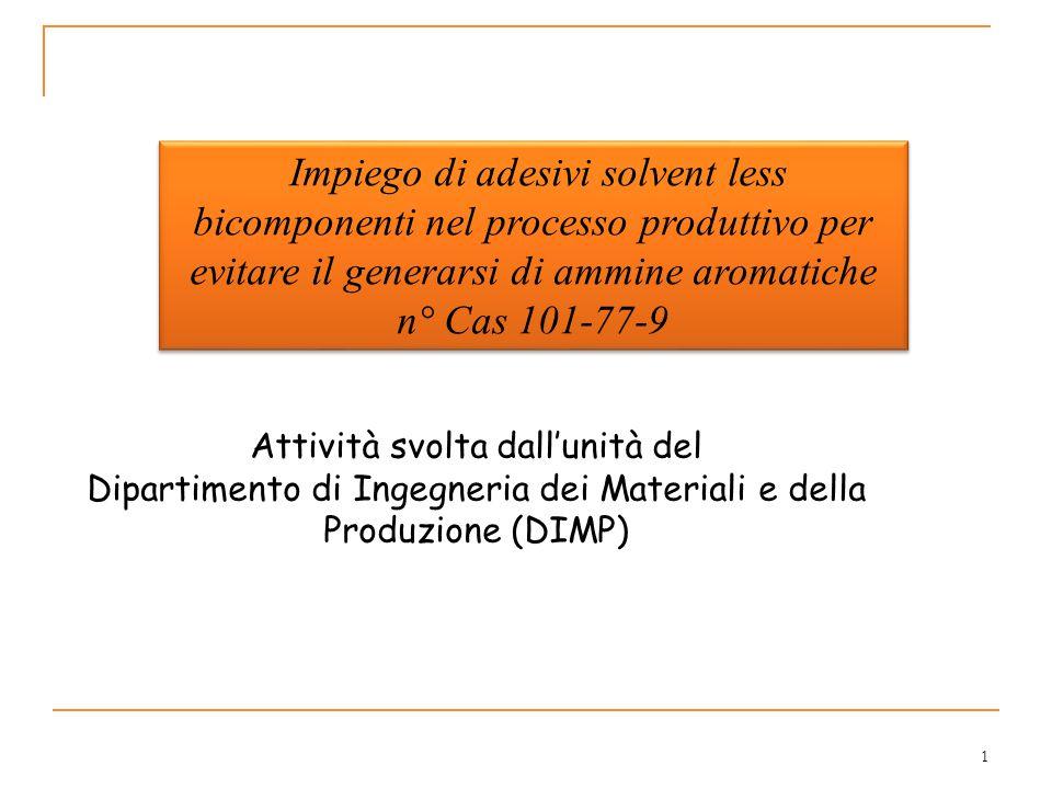 Impiego di adesivi solvent less bicomponenti nel processo produttivo per evitare il generarsi di ammine aromatiche n° Cas 101-77-9
