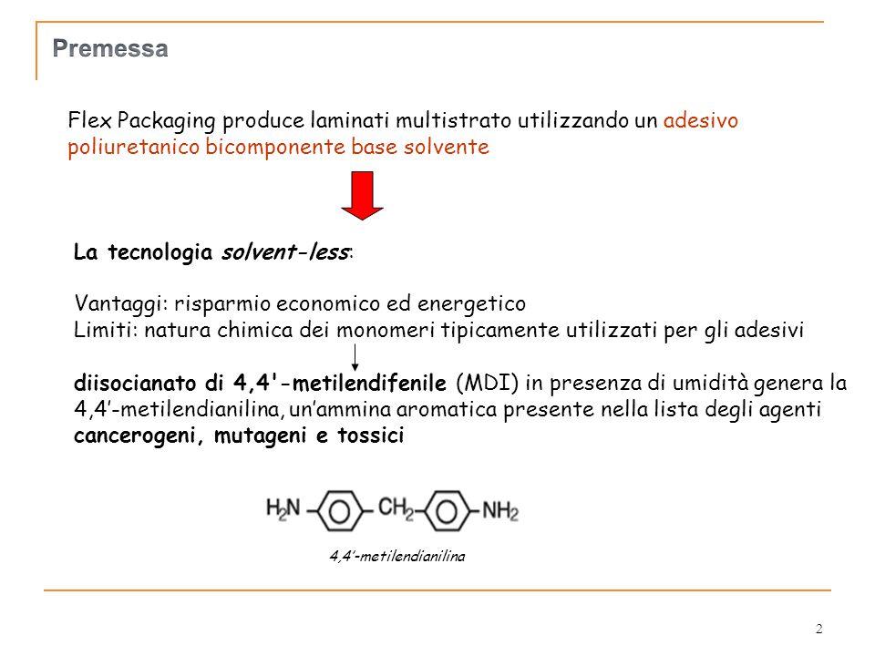 Premessa Flex Packaging produce laminati multistrato utilizzando un adesivo poliuretanico bicomponente base solvente.