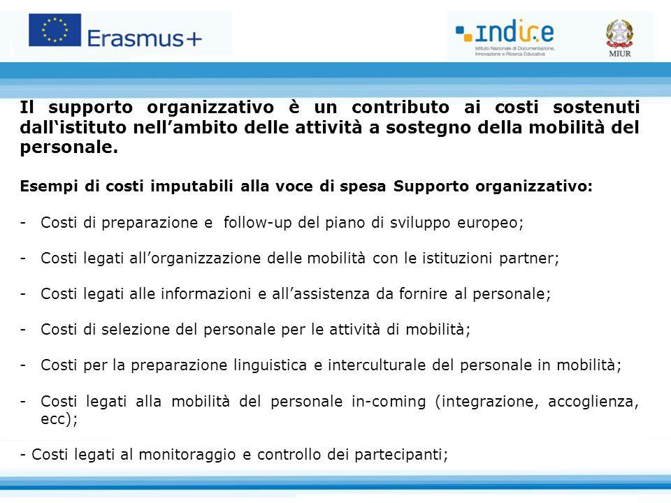 Il supporto organizzativo è un contributo ai costi sostenuti dall'istituto nell'ambito delle attività a sostegno della mobilità del personale.
