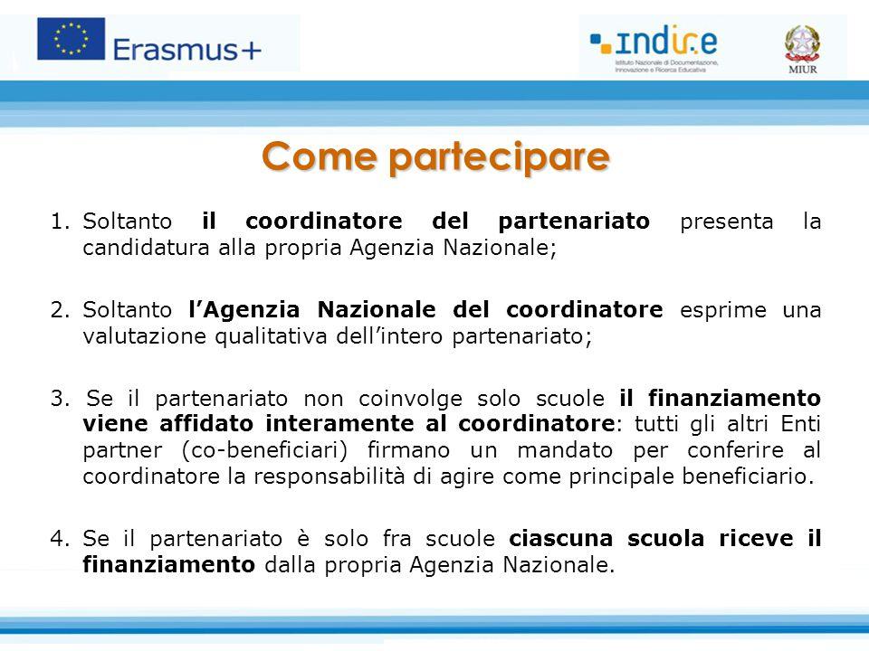 Come partecipare Soltanto il coordinatore del partenariato presenta la candidatura alla propria Agenzia Nazionale;