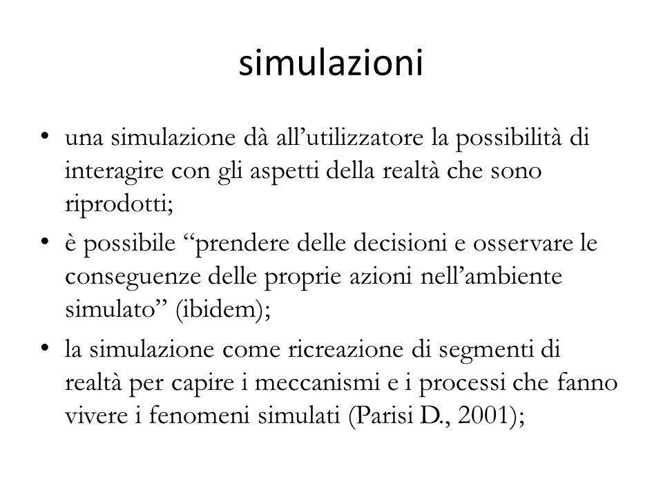 simulazioni una simulazione dà all'utilizzatore la possibilità di interagire con gli aspetti della realtà che sono riprodotti;