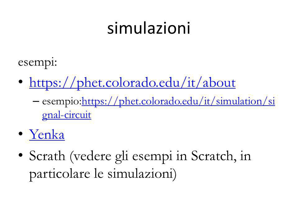simulazioni https://phet.colorado.edu/it/about Yenka