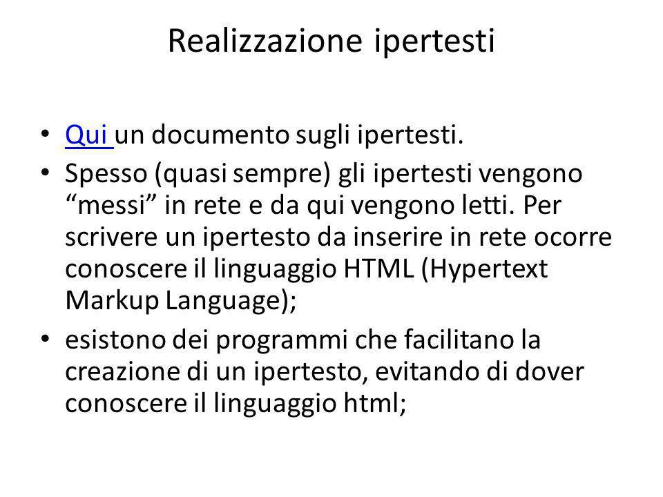Realizzazione ipertesti