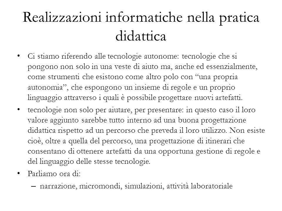 Realizzazioni informatiche nella pratica didattica
