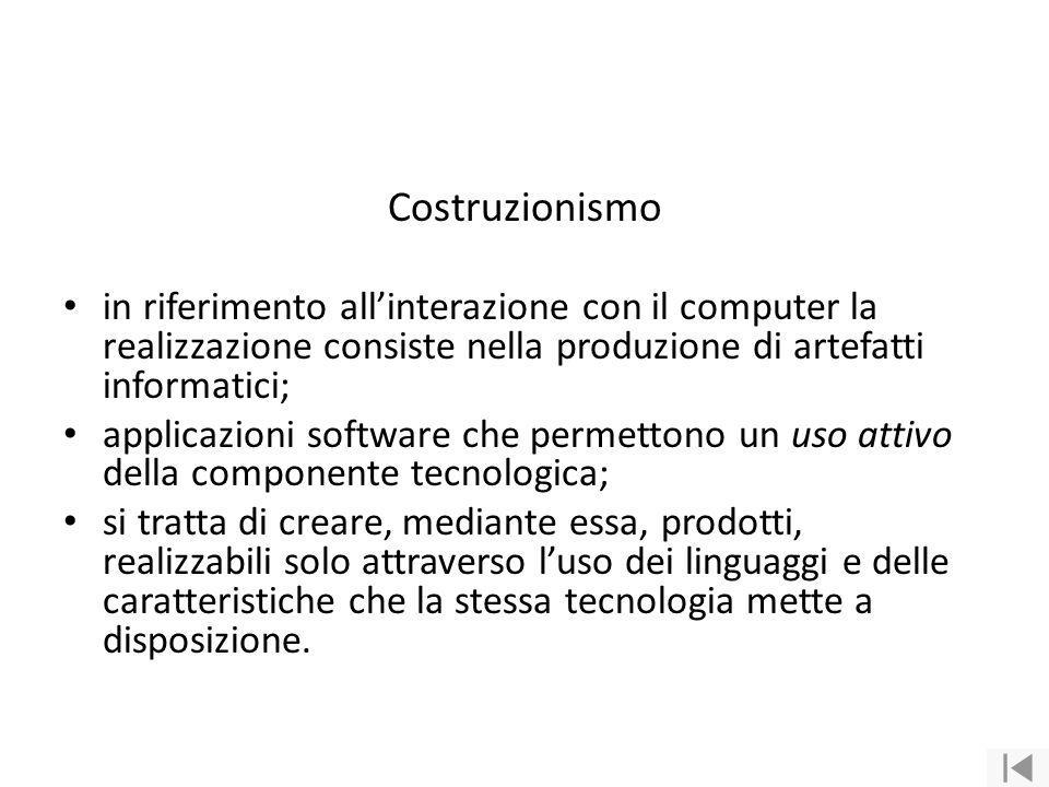 Costruzionismo in riferimento all'interazione con il computer la realizzazione consiste nella produzione di artefatti informatici;