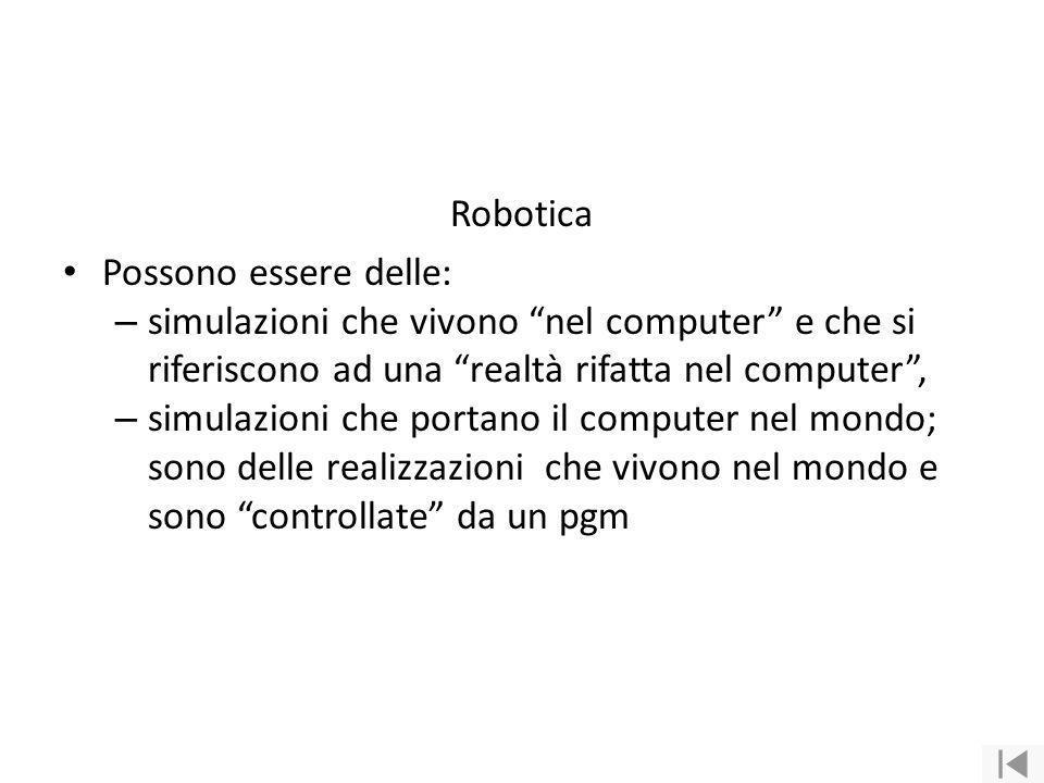 Robotica Possono essere delle: simulazioni che vivono nel computer e che si riferiscono ad una realtà rifatta nel computer ,