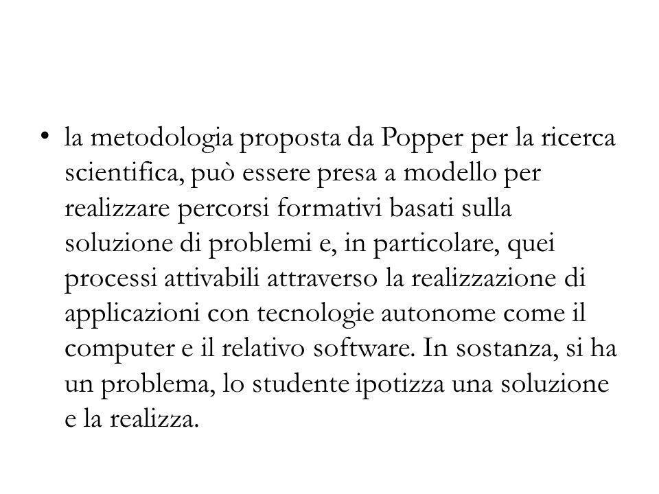 la metodologia proposta da Popper per la ricerca scientifica, può essere presa a modello per realizzare percorsi formativi basati sulla soluzione di problemi e, in particolare, quei processi attivabili attraverso la realizzazione di applicazioni con tecnologie autonome come il computer e il relativo software.