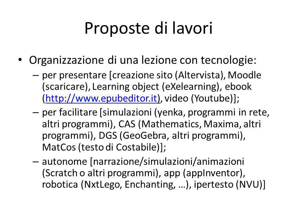Proposte di lavori Organizzazione di una lezione con tecnologie: