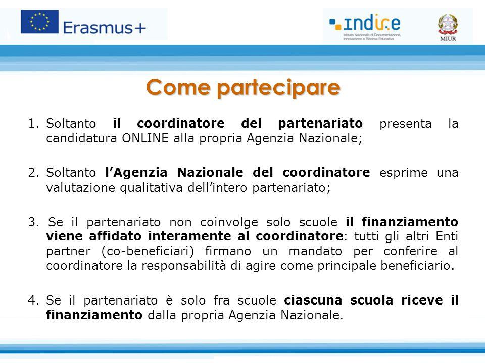 Come partecipare Soltanto il coordinatore del partenariato presenta la candidatura ONLINE alla propria Agenzia Nazionale;