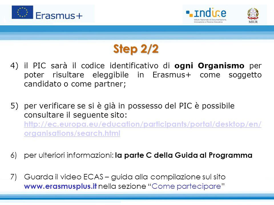 Step 2/2 il PIC sarà il codice identificativo di ogni Organismo per poter risultare eleggibile in Erasmus+ come soggetto candidato o come partner;