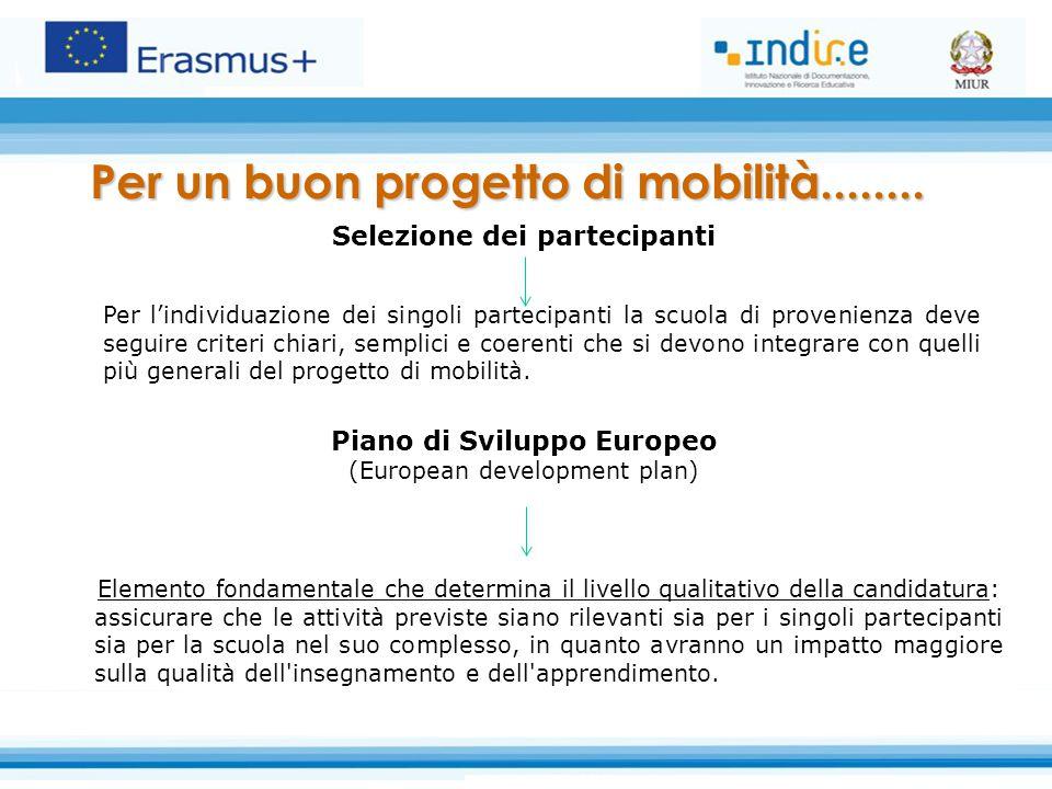 Selezione dei partecipanti Piano di Sviluppo Europeo