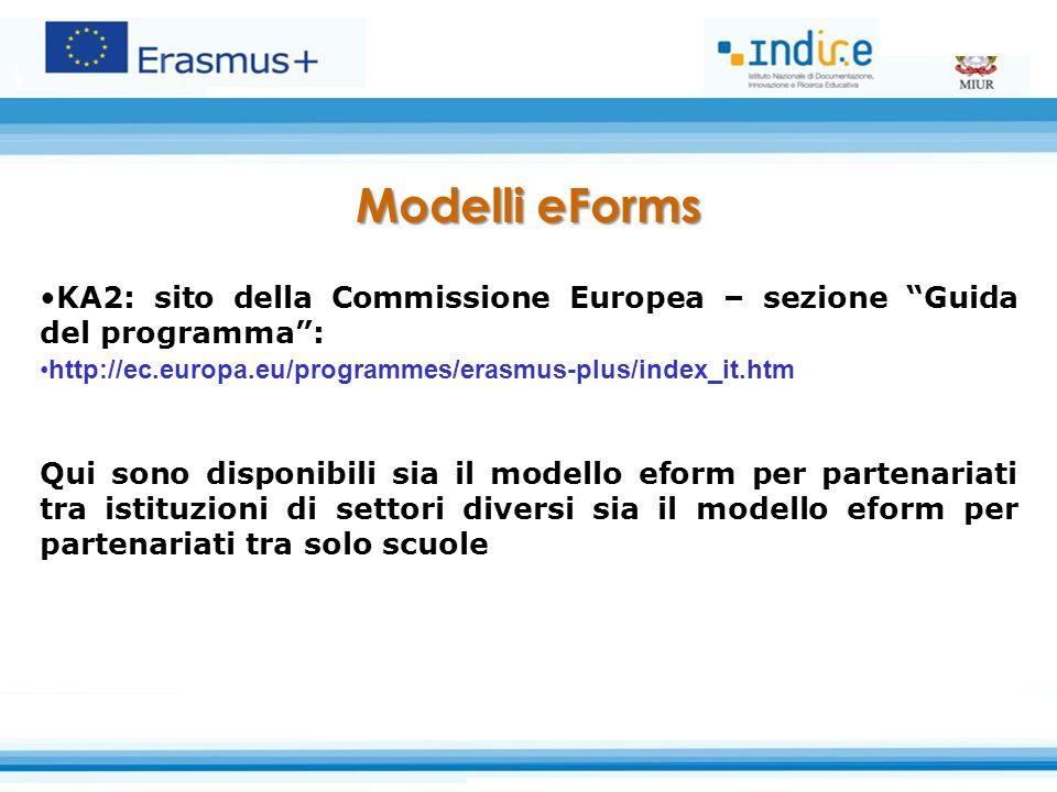 Modelli eForms KA2: sito della Commissione Europea – sezione Guida del programma : http://ec.europa.eu/programmes/erasmus-plus/index_it.htm.