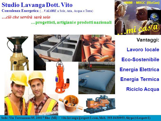 Vantaggi: Lavoro locale Eco-Sostenibile Energia Elettrica