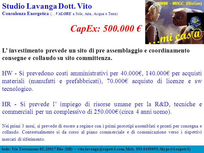 CapEx: 500.000 € L' investimento prevede un sito di pre assemblaggio e coordinamento consegne e collaudo su sito committenza.