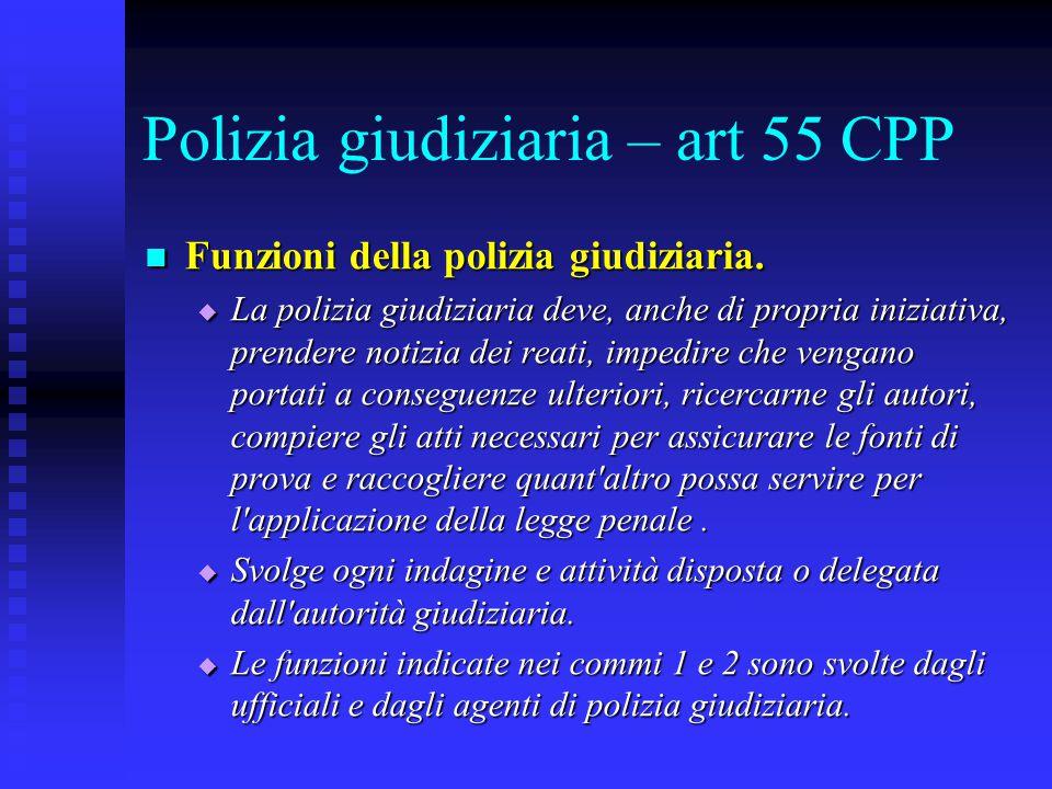 Polizia giudiziaria – art 55 CPP