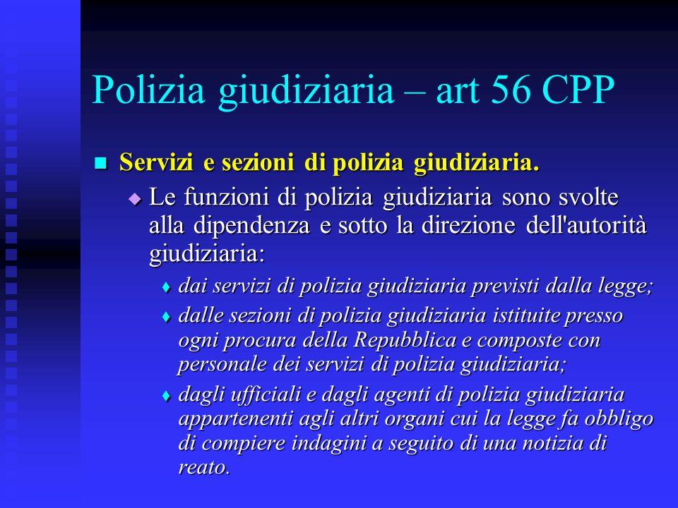 Polizia giudiziaria – art 56 CPP