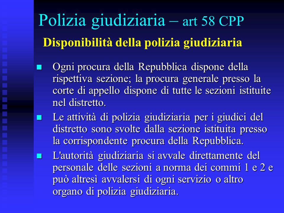 Polizia giudiziaria – art 58 CPP Disponibilità della polizia giudiziaria
