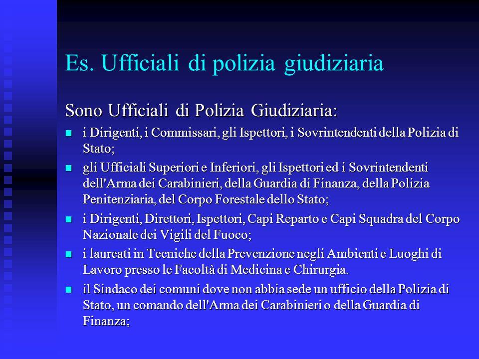 Es. Ufficiali di polizia giudiziaria