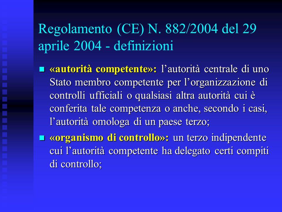 Regolamento (CE) N. 882/2004 del 29 aprile 2004 - definizioni