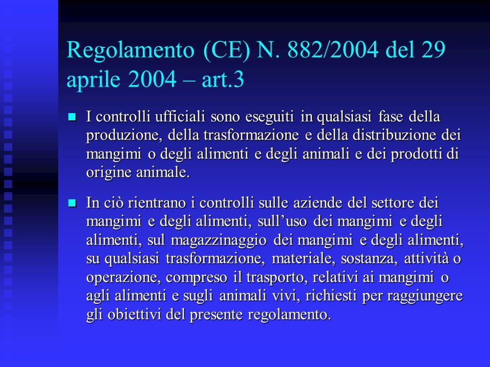 Regolamento (CE) N. 882/2004 del 29 aprile 2004 – art.3
