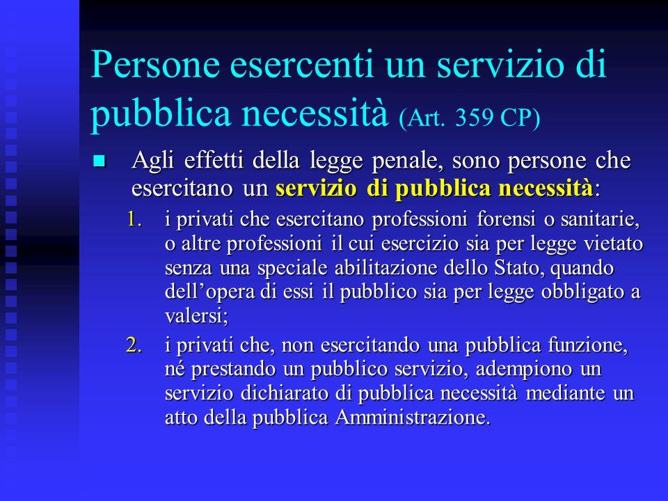 Persone esercenti un servizio di pubblica necessità (Art. 359 CP)