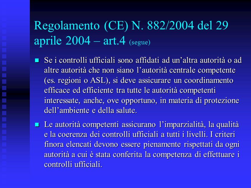 Regolamento (CE) N. 882/2004 del 29 aprile 2004 – art.4 (segue)