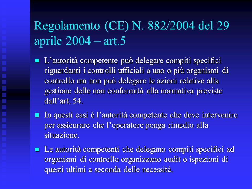 Regolamento (CE) N. 882/2004 del 29 aprile 2004 – art.5