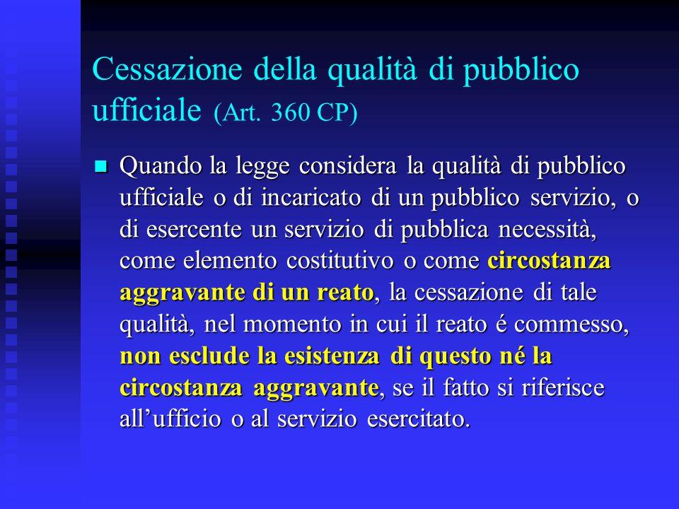 Cessazione della qualità di pubblico ufficiale (Art. 360 CP)