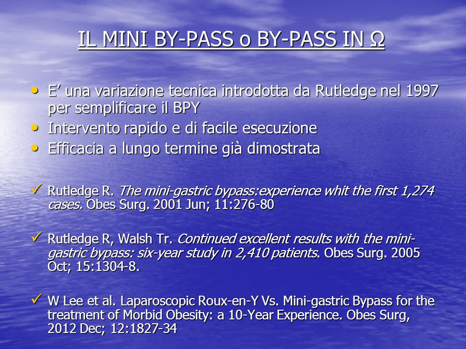 IL MINI BY-PASS o BY-PASS IN Ω