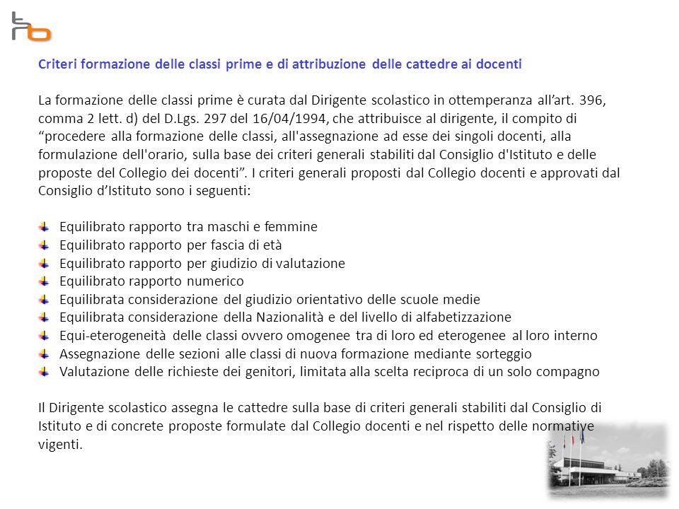 Criteri formazione delle classi prime e di attribuzione delle cattedre ai docenti