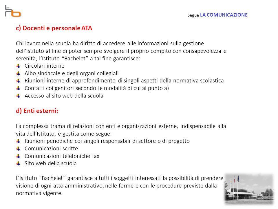 c) Docenti e personale ATA