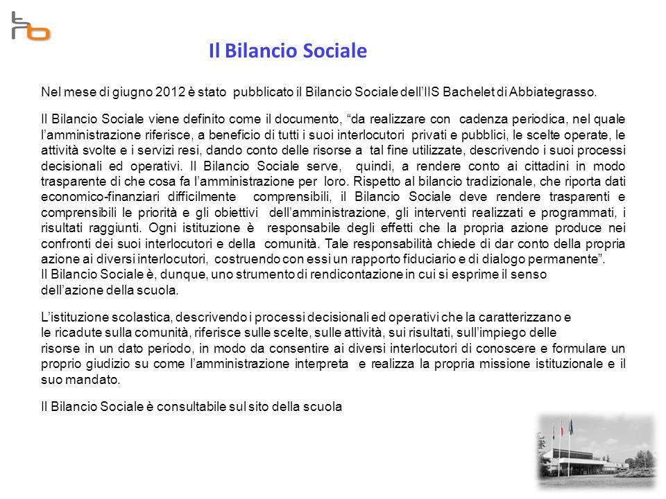 Il Bilancio Sociale Nel mese di giugno 2012 è stato pubblicato il Bilancio Sociale dell'IIS Bachelet di Abbiategrasso.