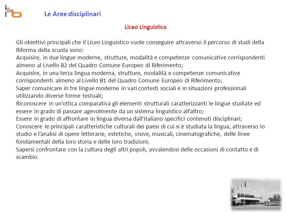 Le Aree disciplinari Liceo Linguistico