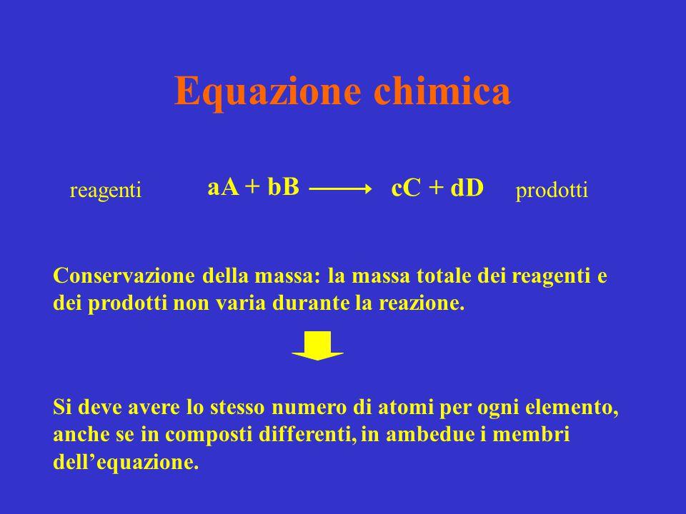 Equazione chimica aA + bB cC + dD reagenti prodotti