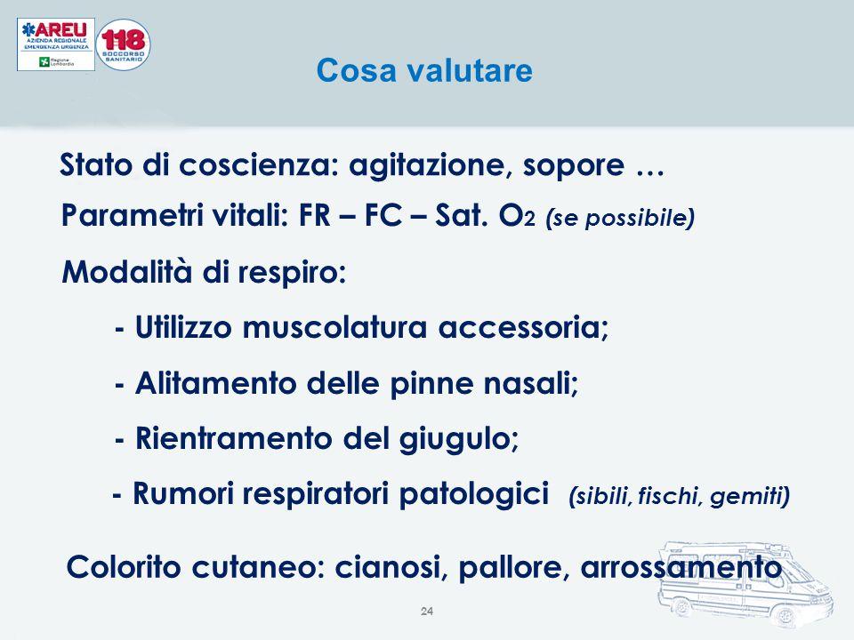 Parametri vitali: FR – FC – Sat. O2 (se possibile)