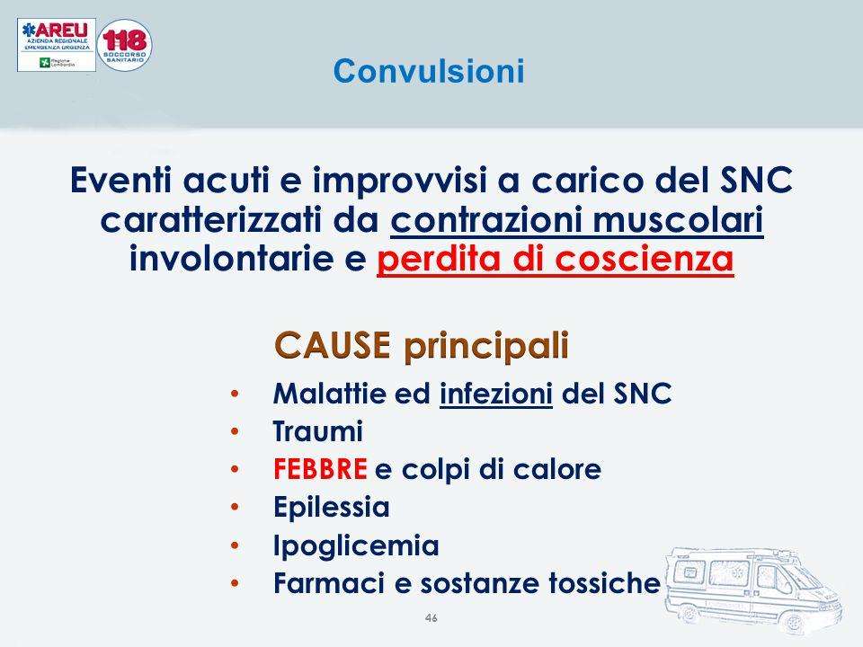 Convulsioni Eventi acuti e improvvisi a carico del SNC caratterizzati da contrazioni muscolari involontarie e perdita di coscienza.