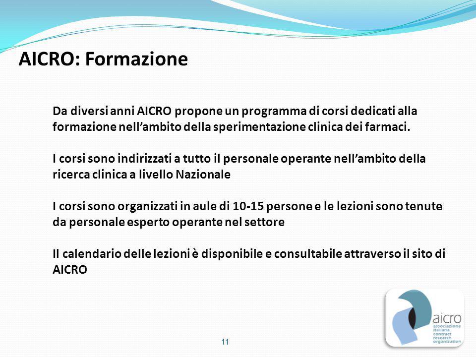 AICRO: Formazione Da diversi anni AICRO propone un programma di corsi dedicati alla formazione nell'ambito della sperimentazione clinica dei farmaci.