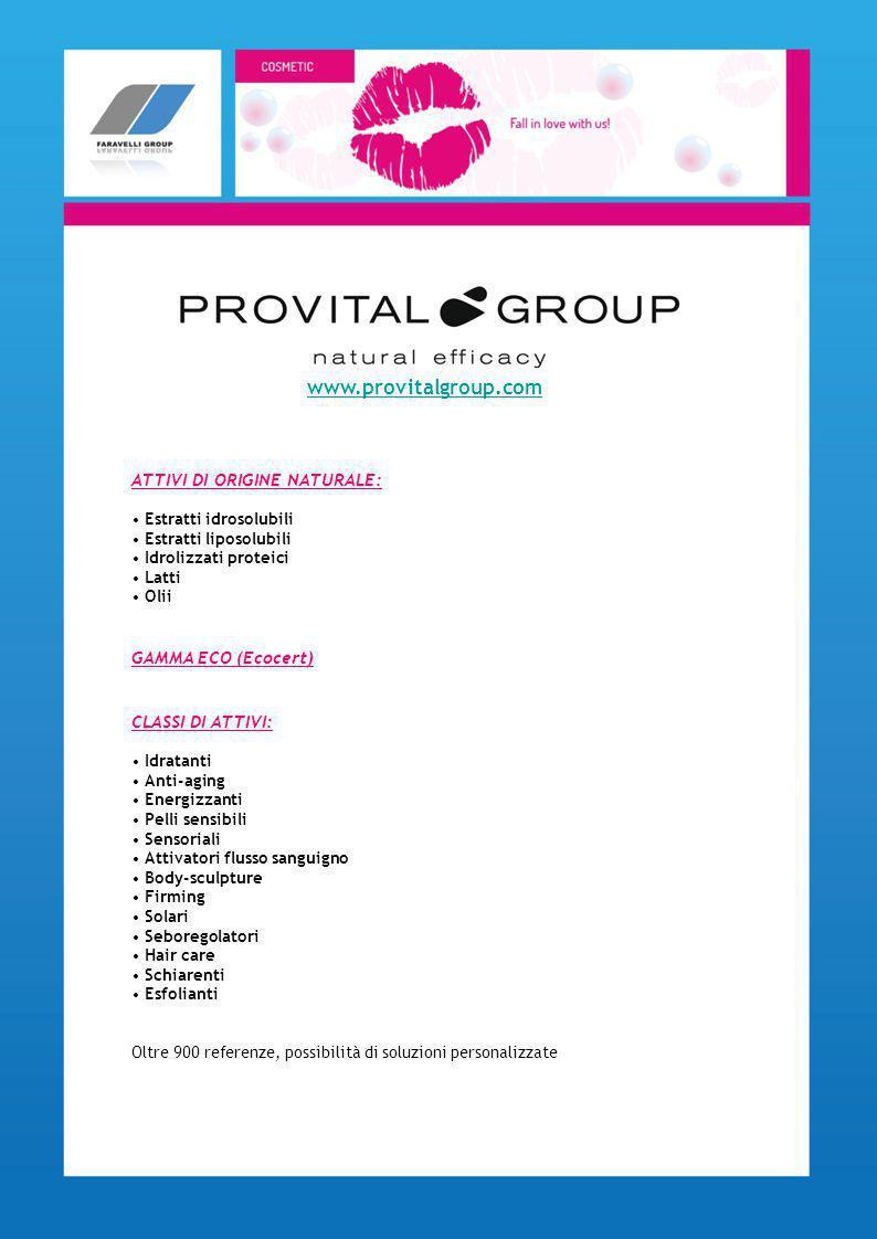 www.provitalgroup.com ATTIVI DI ORIGINE NATURALE: GAMMA ECO (Ecocert)