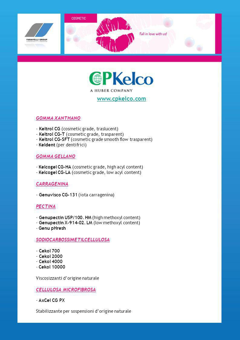 www.cpkelco.com GOMMA XANTHANO GOMMA GELLANO CARRAGENINA PECTINA