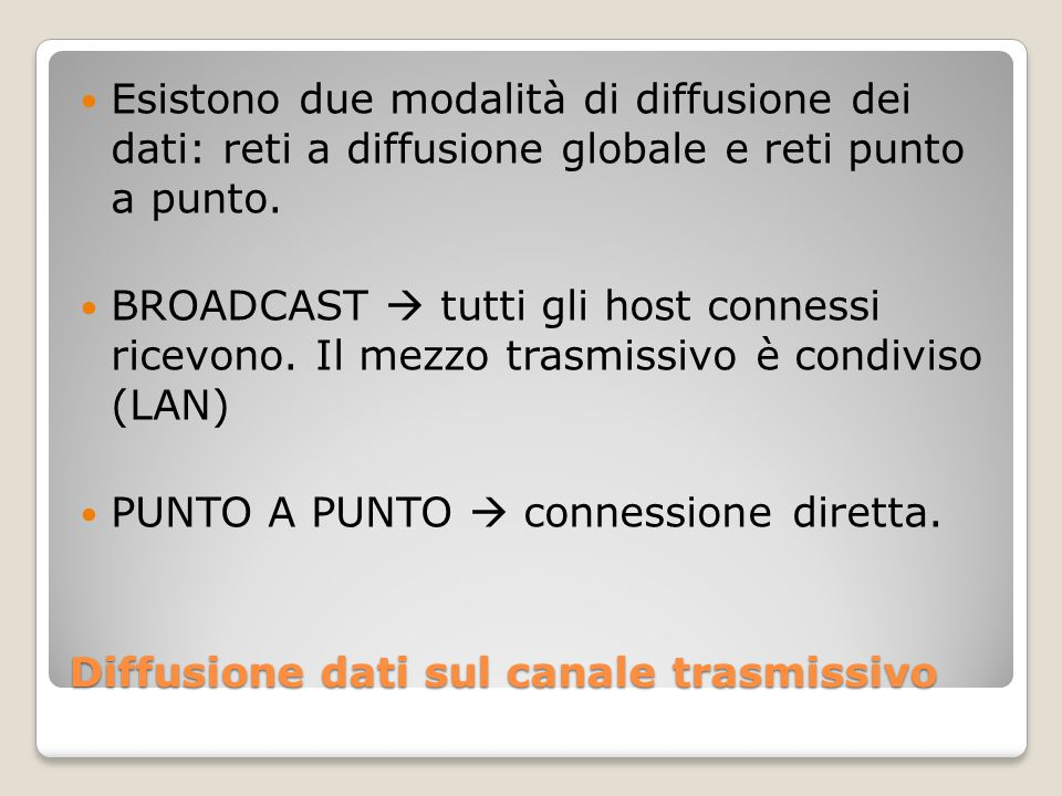 Diffusione dati sul canale trasmissivo