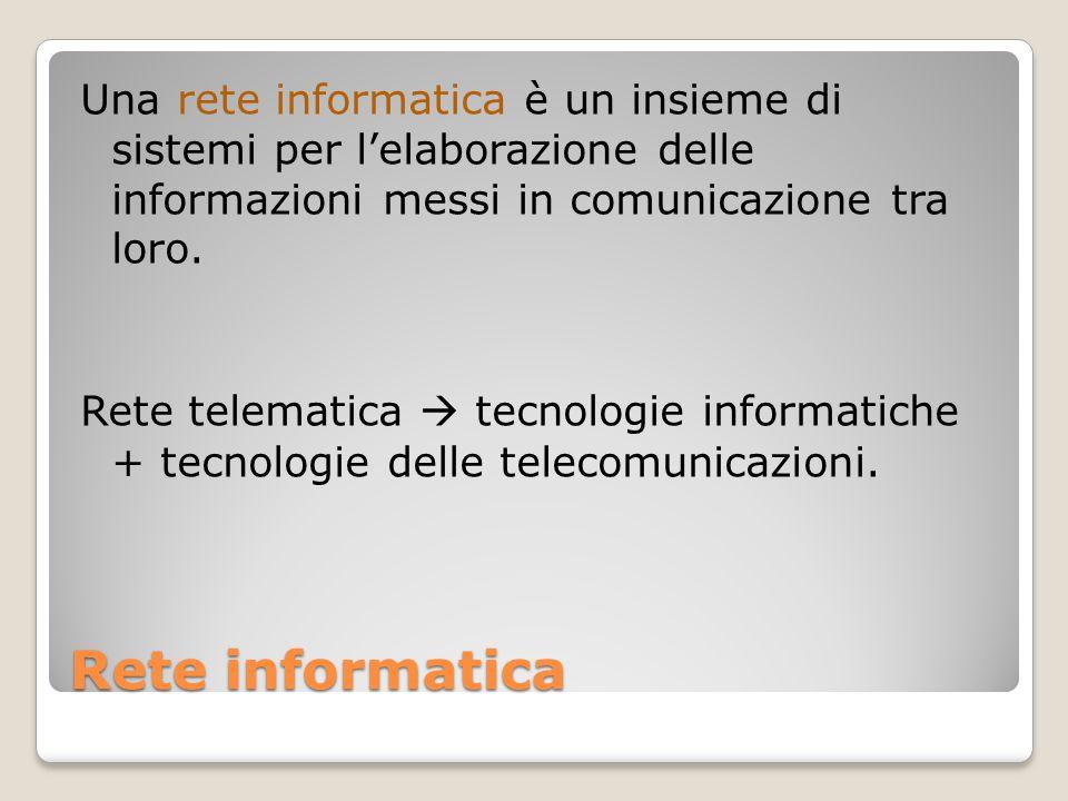 Una rete informatica è un insieme di sistemi per l'elaborazione delle informazioni messi in comunicazione tra loro. Rete telematica  tecnologie informatiche + tecnologie delle telecomunicazioni.