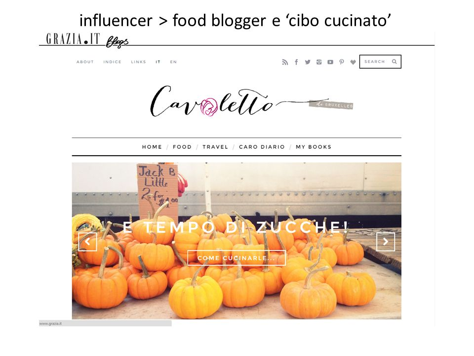 influencer > food blogger e 'cibo cucinato'