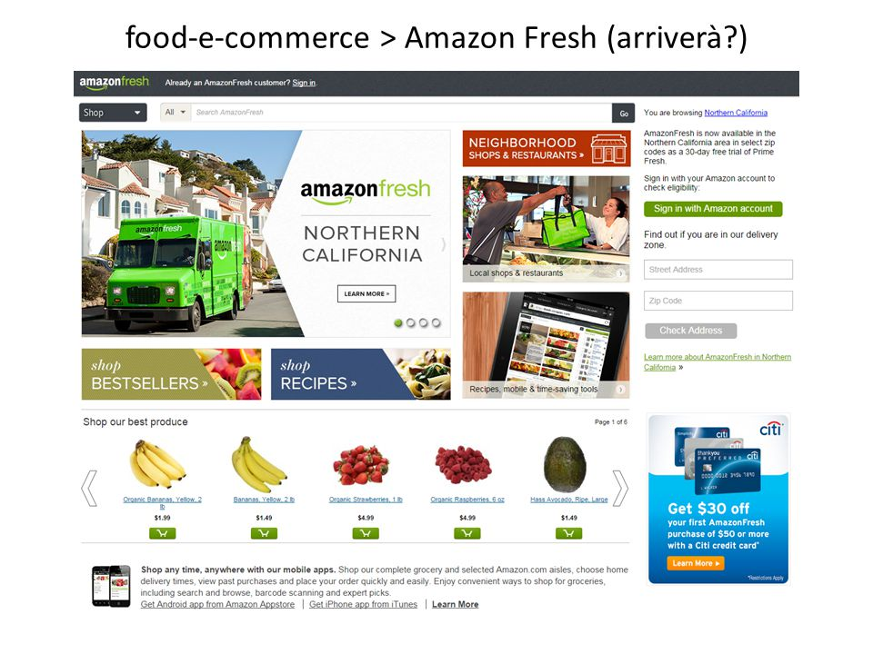 food-e-commerce > Amazon Fresh (arriverà )