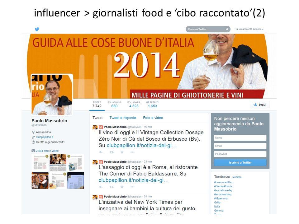 influencer > giornalisti food e 'cibo raccontato'(2)