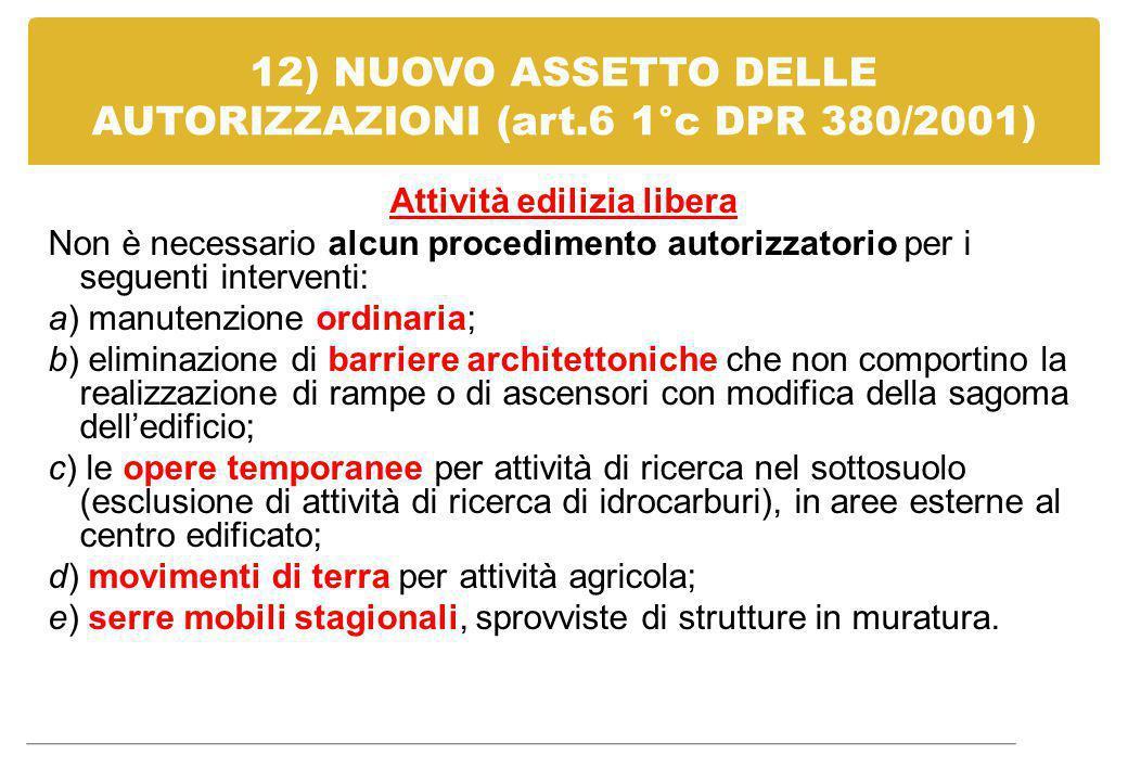12) NUOVO ASSETTO DELLE AUTORIZZAZIONI (art.6 1°c DPR 380/2001)