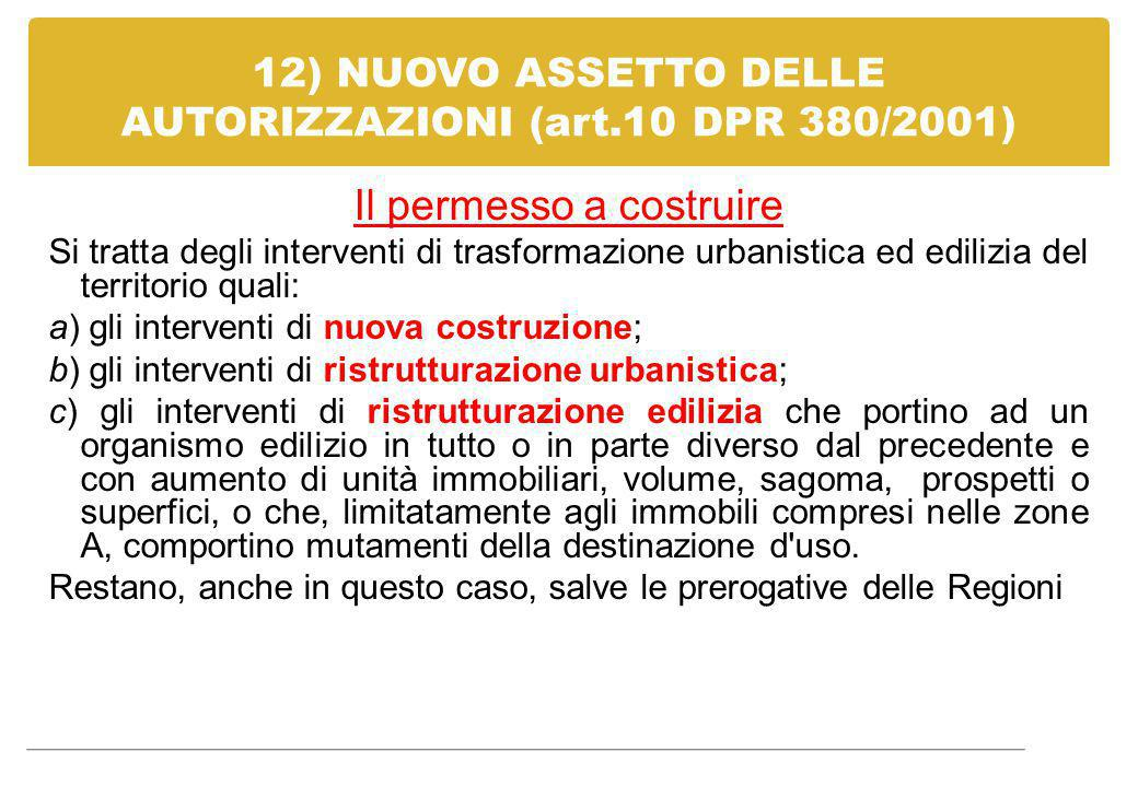 12) NUOVO ASSETTO DELLE AUTORIZZAZIONI (art.10 DPR 380/2001)