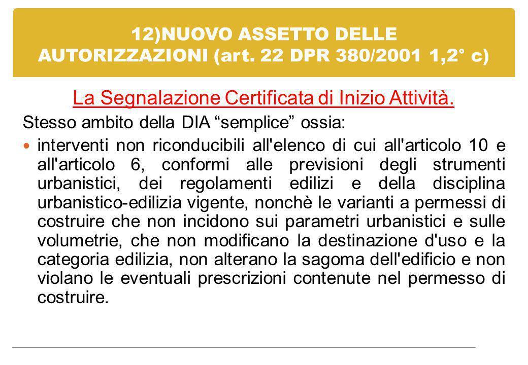 12)NUOVO ASSETTO DELLE AUTORIZZAZIONI (art. 22 DPR 380/2001 1,2° c)