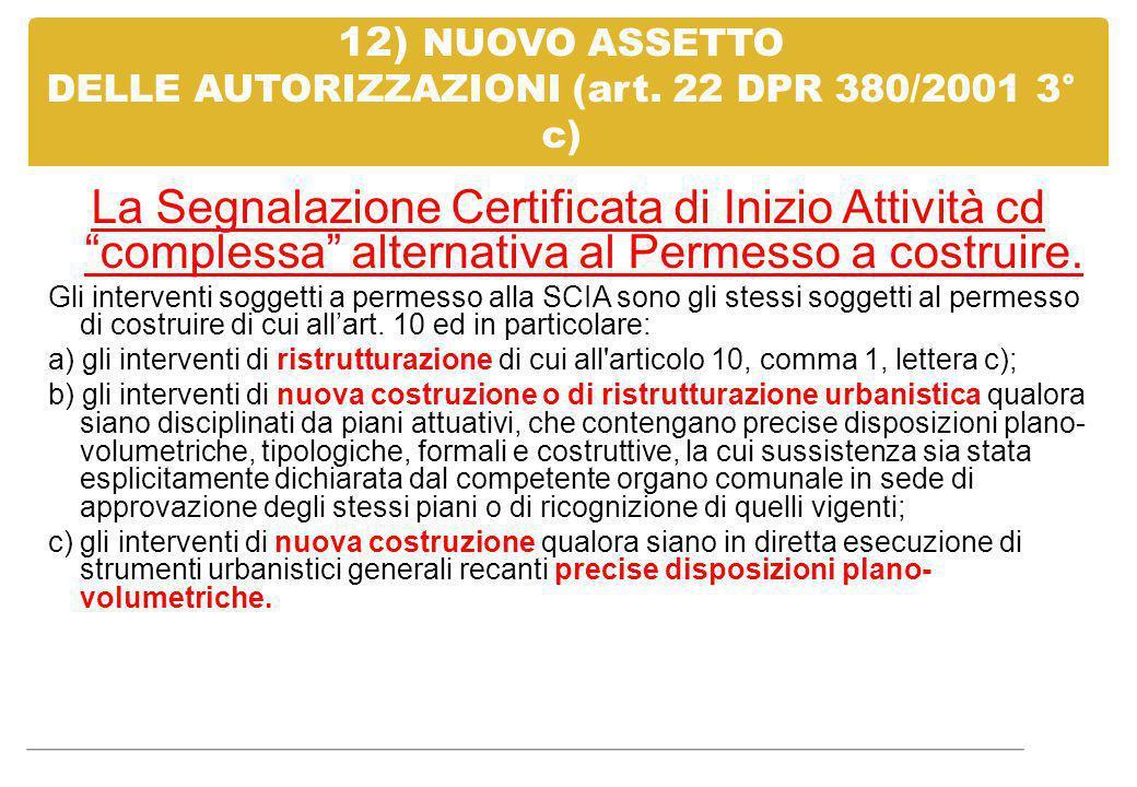 12) NUOVO ASSETTO DELLE AUTORIZZAZIONI (art. 22 DPR 380/2001 3° c)